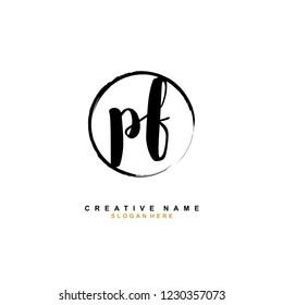 P F PF Initial logo template vector