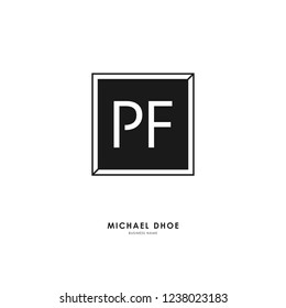 P F PF Initial logo letter with minimalist concept. Vector with scandinavian style logo.