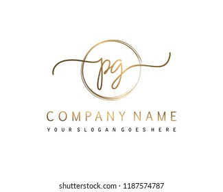 P G Initial handwriting logo vector