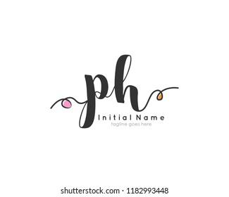 P H Initial handwriting logo vector template