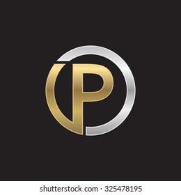 P initial circle company or PO OP logo black background