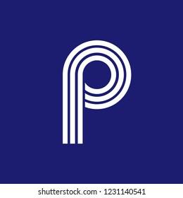 P initial line loog design vector