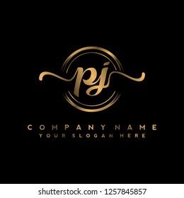 P J Initial handwriting logo vector