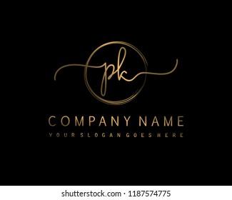 P K Initial handwriting logo vector