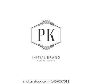 P K PK Beauty vector initial logo, handwriting logo of initial signature, wedding, fashion, jewerly, boutique, floral and botanical with creative template for any company or business.