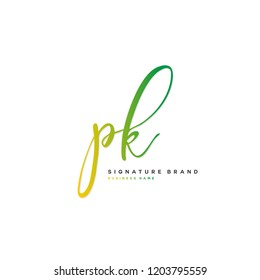 P K PK Initial letter handwriting and  signature logo concept design
