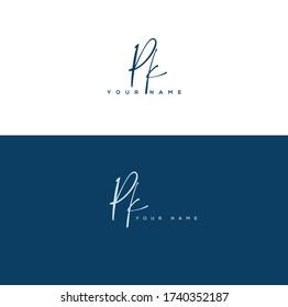 P K PK Initial letter handwriting and signature logo.