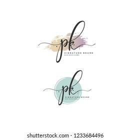 P K PK Initial logo template vector