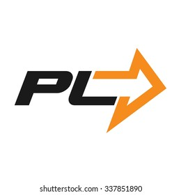 p and l logo vector with arrow symbol.
