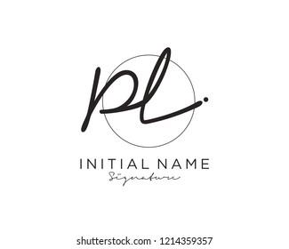 P L Signature initial logo template vector