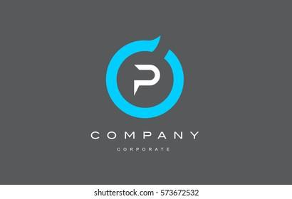 P letter alphabet blue circle flat modern creative vector logo icon sign design template
