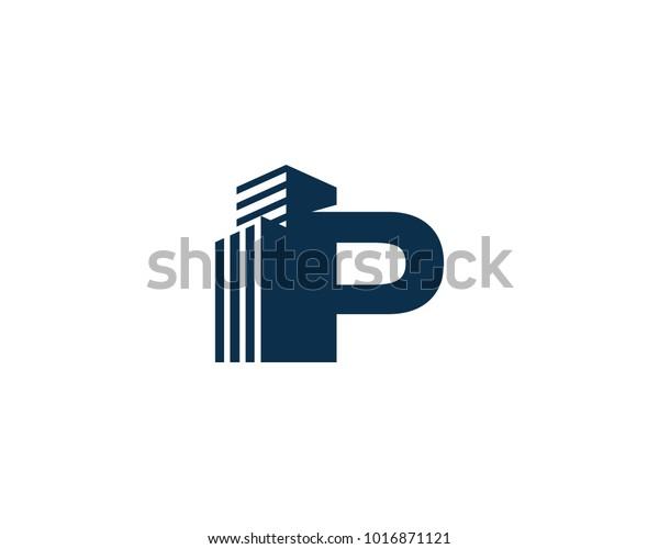 P Letter Building Construction Company Logo Stock Vector