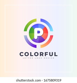 P letter colorful logo archer target style isolated in the circle shape. Vector design template elements for your Brand or company identity.