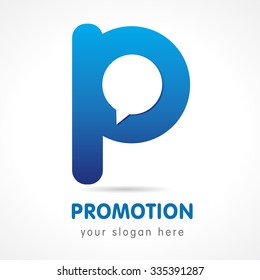 P letter corporate logo. Learn, educational, consult, blue colored volume logotype. FAQ, I.Q., contact us, template of speak, computer, smartphone app setting products, brand isolated iq think icon.