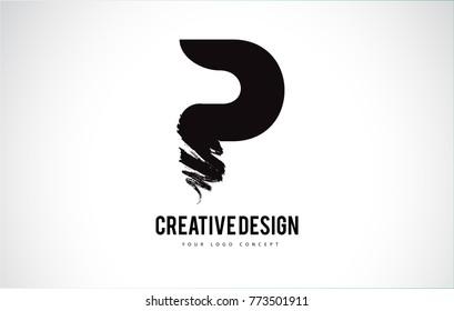 P Letter Design Brush Paint Stroke. Letter Logo with Black Paintbrush Stroke.