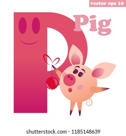 P letter of english alphabets with funny cartoon pig. Educatioal element for study, kids book, preschool classes, memo cards, children games. Vector isolated illustration.