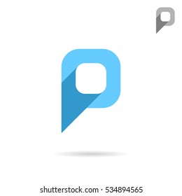P letter icon, pointer sign, 2d flat vector illustration, eps 10