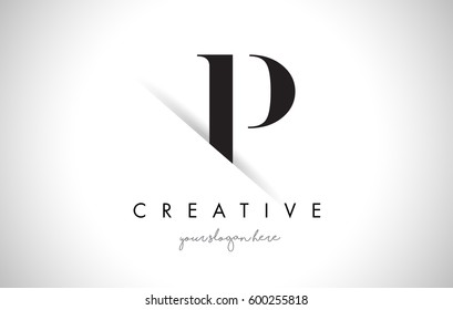 P Letter Logo Design with Creative Paper Cut and Serif Font.