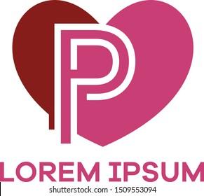 P letter logo design. Letter p in heart shape vector illustration.