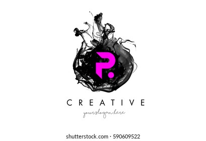 P Letter Logo Design with Ink Cloud Flowing Texture and Purple Colors.
