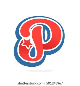 P letter logo with star in vintage baseball style. Sport elements for sportswear, club, t-shirt, banner, card, labels or posters.