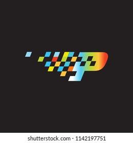 p letter pixels motion effect vector logo design