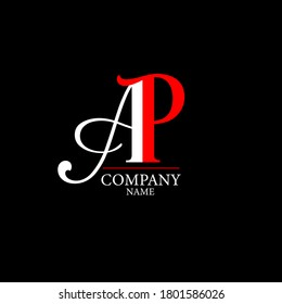 A P Logo. AP Letter Design Template Vector with Black Red Color.