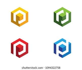 P Logo Hexagon illustration Icon Vector Template