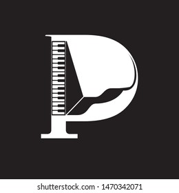 P logo letter based Piano icon