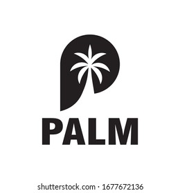 P logo,and Palm tree design vector.