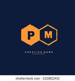 P M PM Initial logo template vector