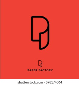 P monogram. P logo. Paper factory emblem. Letter P as a paper roll. Wallpaper icon.