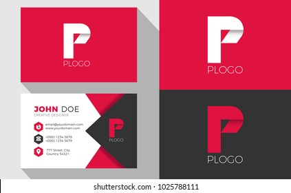 P Origami Style Letter Logo With Professional Business Card