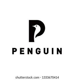 P for penguin logo template