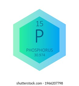 P Phosphorus Chemical Element Periodic Table. Hexagon gradient vector illustration, simple clean style Icon with molar mass and atomic number for Lab, science or chemistry education.