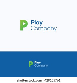 P play letter video logo