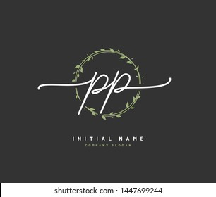 P PP Beauty vector initial logo, handwriting logo of initial signature, wedding, fashion, jewerly, boutique, floral and botanical with creative template for any company or business.