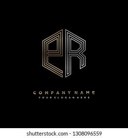 P R initial letter, modern logo design template vector