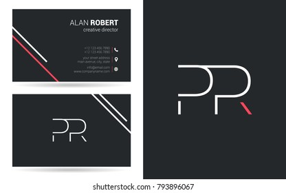 P & R joint logo stroke letter design with business card template