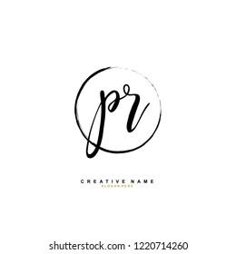 P R PR Initial logo template vector