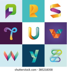 P R S T U V W Y Z letters set of logo idea template