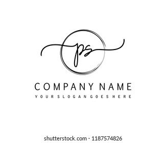 P S Initial handwriting logo vector