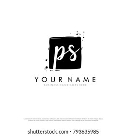 P S initial square logo template vector