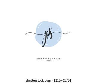 P S PS initial logo handwriting  template vector