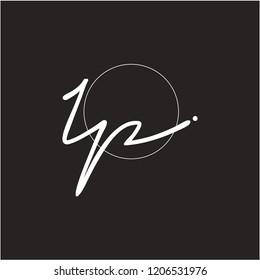 I P Signature initial logo template vector