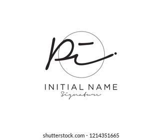P I Signature initial logo template vector