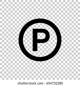 P - Sound recording copyright symbol isolated on transparent background. Black symbol for your design. Vector illustration, easy to edit.