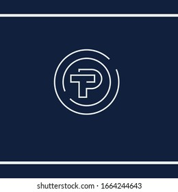 P and T letter logo initials. TP or PT simple monogram. Minimalist style, Line art. Typography mark. Vector logo design template