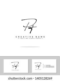 P T PT initial handwriting logo template vector.  signature logo concept