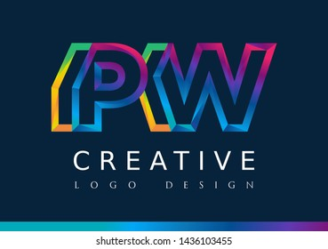 P W Logo. PW Letter Design Vector with Magenta blue and green yellow color